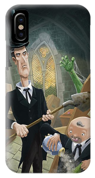 Dark Humor iPhone Case - Ashes Fun In The Funeral Crypt by Martin Davey