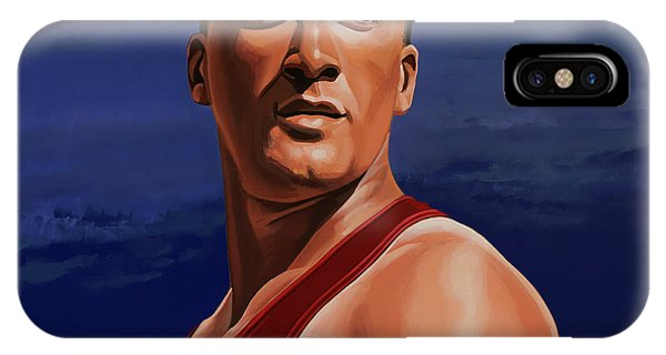 Silver And Gold iPhone Case - Ashton Eaton Painting by Paul Meijering