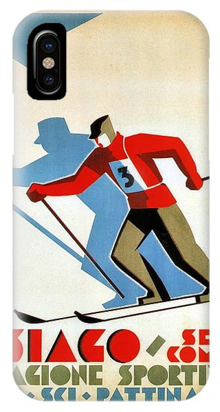 Winter iPhone Case - Asiago, Italy Ski Poster - Winter Sports - Retro Travel Poster - Vintage Poster by Studio Grafiikka
