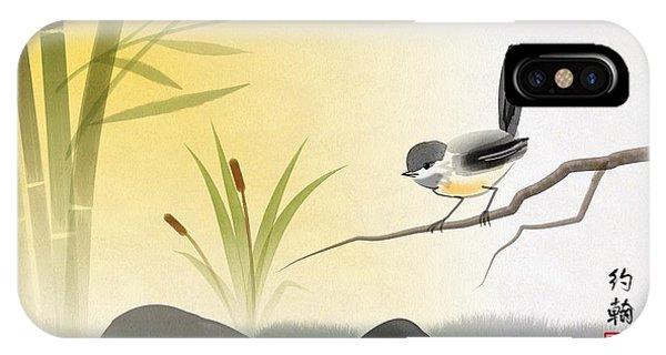 Asian Art Chickadee Landscape IPhone Case