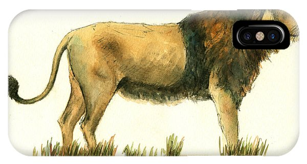African Lion Art iPhone Case - Asiatic Lion by Juan Bosco