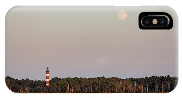 Assateague Light And The Full Moon IPhone Case