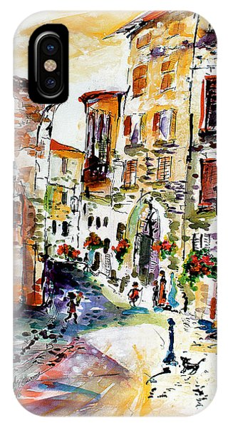 Assisi Italy Old Town Watercolor IPhone Case