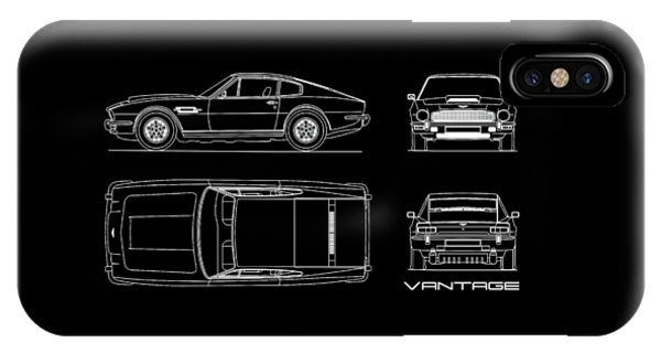 Martin iPhone Case - Aston Martin V8 Vantage Blueprint by Mark Rogan