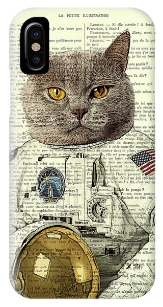 Work iPhone Case - Astronaut Cat Illustration by Madame Memento