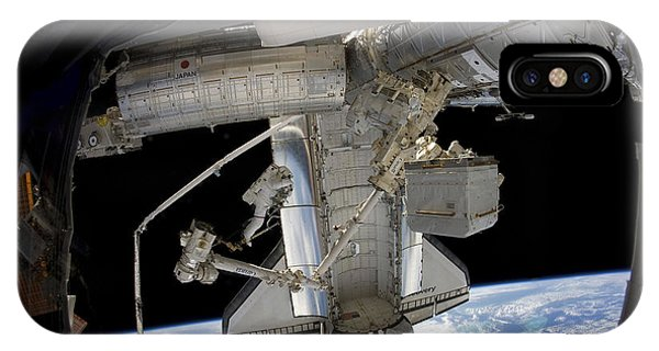 International Space Station iPhone Case - Astronaut Participates In A Spacewalk by Stocktrek Images