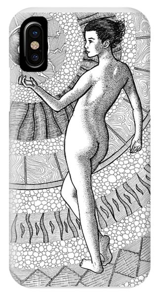 Pen And Ink Drawings For Sale iPhone Case - At Her Fingertips by Trajan Pen and Ink