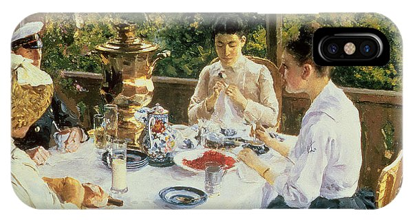 Table iPhone Case - At The Tea-table by Konstantin Alekseevich Korovin
