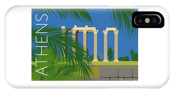 Athens Temple Of Olympian Zeus - Blue IPhone Case