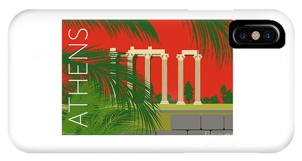 Athens Temple Of Olympian Zeus - Orange IPhone Case