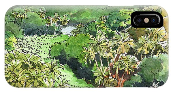 IPhone Case featuring the painting Atiu Lake View by Judith Kunzle