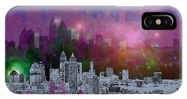 Colorful iPhone Case - Atlanta Skyline 7 by Alberto RuiZ