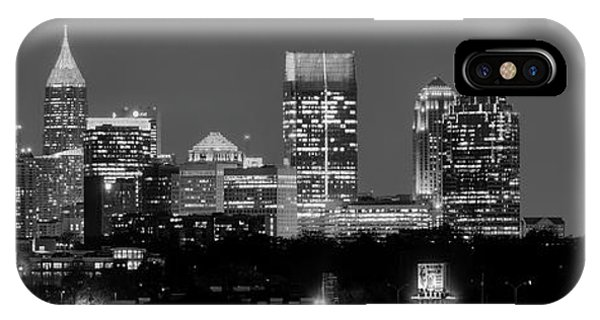 Atlanta Skyline At Night Downtown Midtown Black And White Bw Panorama IPhone Case