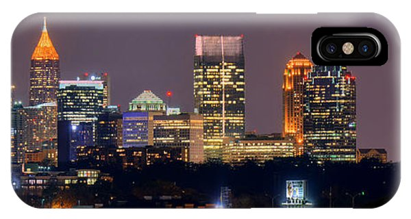 Atlanta Skyline At Night Downtown Midtown Color Panorama IPhone Case