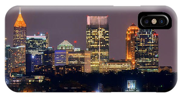Downtown iPhone Case - Atlanta Skyline At Night Downtown Midtown Color Panorama by Jon Holiday