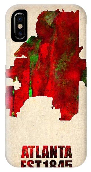 Georgia iPhone Case - Atlanta Watercolor Map by Naxart Studio