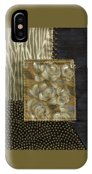 IPhone Case featuring the mixed media Attic Window Violets by Linda Mae Olszanski