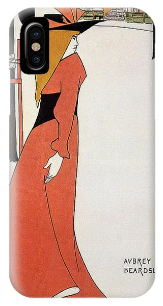 Aubrey Beardsley - Girl In Red Gown - Vintage Advertising Poster IPhone Case