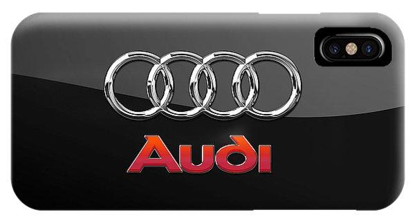 Artwork iPhone Case - Audi 3 D Badge On Black by Serge Averbukh