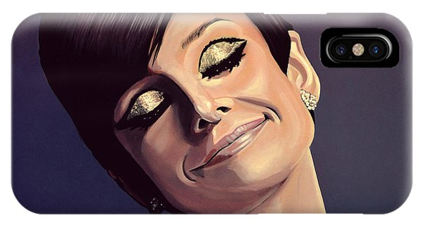 Glamour iPhone Case - Audrey Hepburn Painting by Paul Meijering