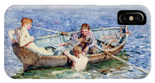 Boats iPhone Case - August Blue by Henry Scott Tuke