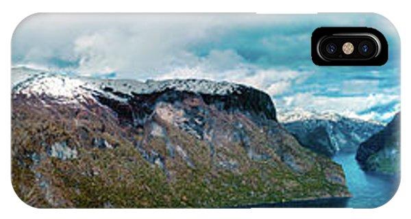 Aurlandsfjorden Panorama Revisited IPhone Case