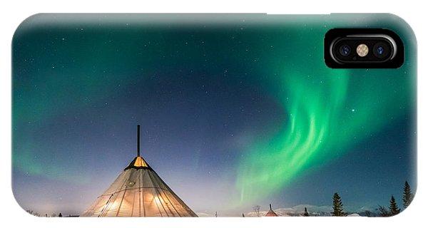 Aurora Above Sami Tent IPhone Case