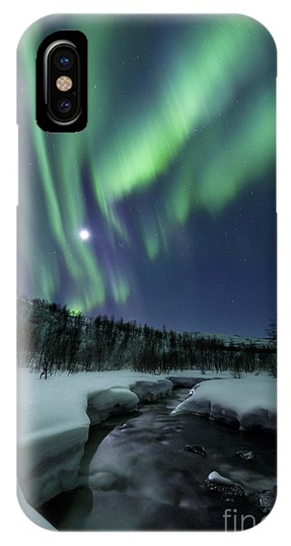 IPhone Case featuring the photograph Aurora Borealis Over Blafjellelva River by Arild Heitmann