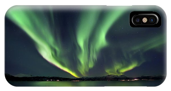Space iPhone Case - Aurora Borealis Over Tjeldsundet by Arild Heitmann