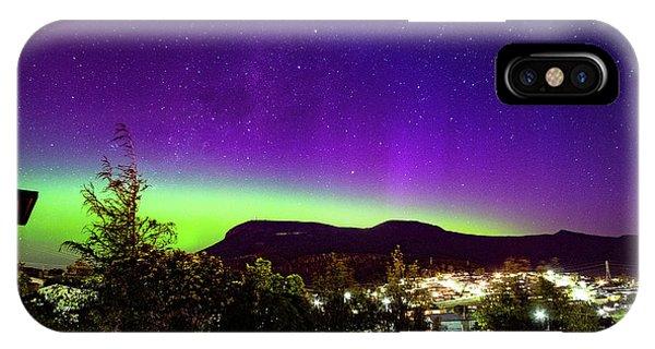 Aurora Over Mt Wellington, Hobart IPhone Case