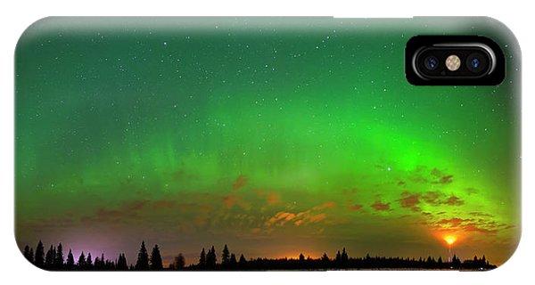 Aurora Over Pond Panorama IPhone Case