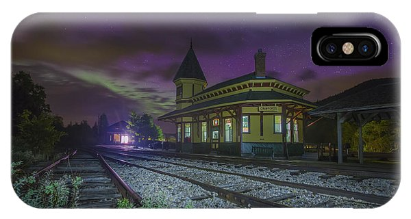 Aurora Over The Crawford Notch Depot IPhone Case