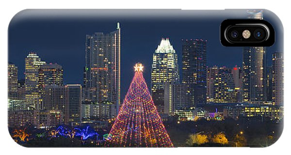 Austin Skyline iPhone Case - Austin Panorama Of The Trail Of Lights And Skyline by Rob Greebon