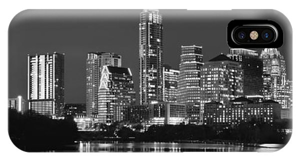 Austin Skyline At Night Black And White Bw Panorama Texas IPhone Case