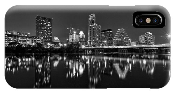 IPhone Case featuring the photograph Austin Skyline At Night Black And White by Todd Aaron