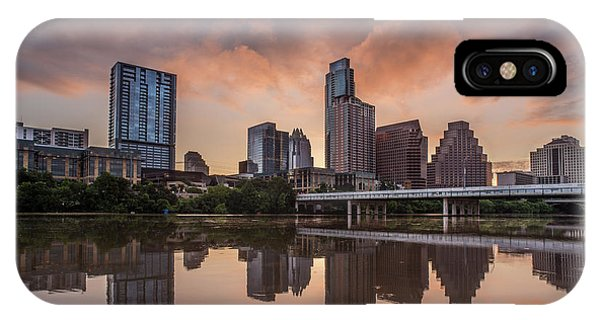 IPhone Case featuring the photograph Austin Skyline Sunrise Reflection by Todd Aaron