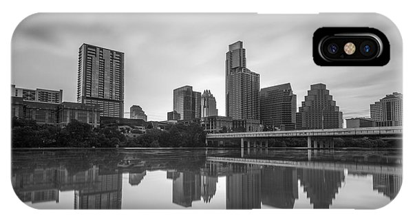 IPhone Case featuring the photograph Austin Texas Skyline Reflecting In Ladybird Lake Long Exposure by Todd Aaron