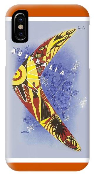 Kangaroo iPhone Case - Australia Boomerang Aboriginal Art National Travel Association Vintage World Travel Poster by Retro Graphics