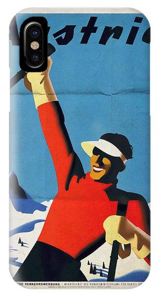 Austria Ski Tourism - Vintage Poster Folded IPhone Case