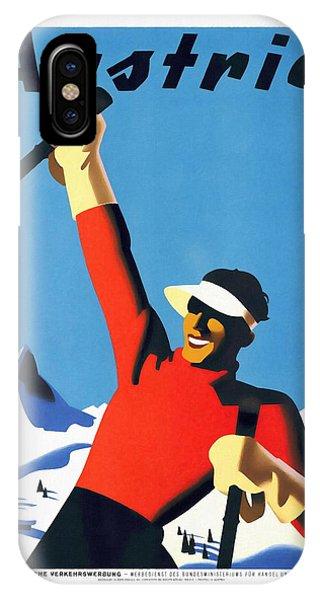 Austria Ski Tourism - Vintage Poster Restored IPhone Case