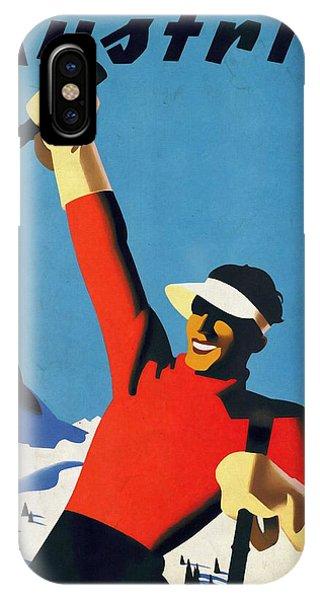 Austria Ski Tourism - Vintage Poster Vintagelized IPhone Case
