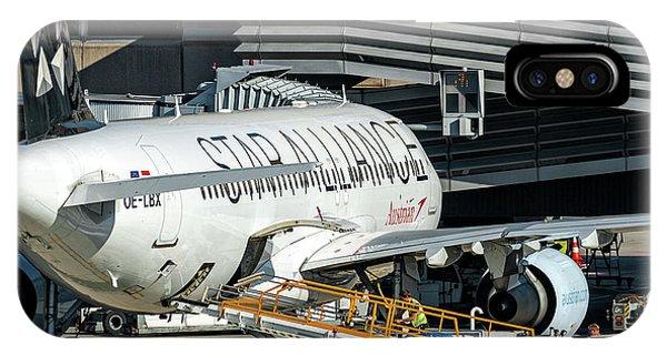Austrian Star Alliance At Preparation Aircraft Befthe Gate Of Zurich IPhone Case