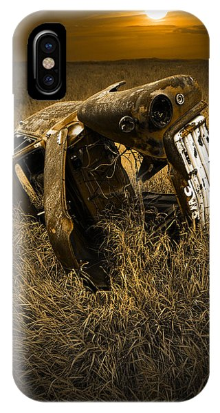 Auto Wreck In A Grassy Field On The Prairie At Sunset IPhone Case