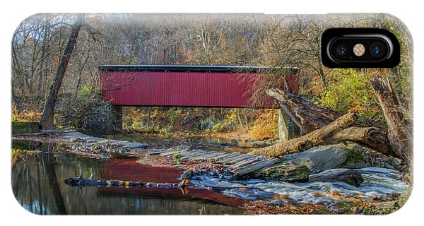 iPhone Case - Autumn Along The Wissahickon Creek -thomas Mill Covered Bridge by Bill Cannon