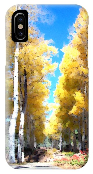 IPhone Case featuring the digital art Autumn Aspens by Deleas Kilgore