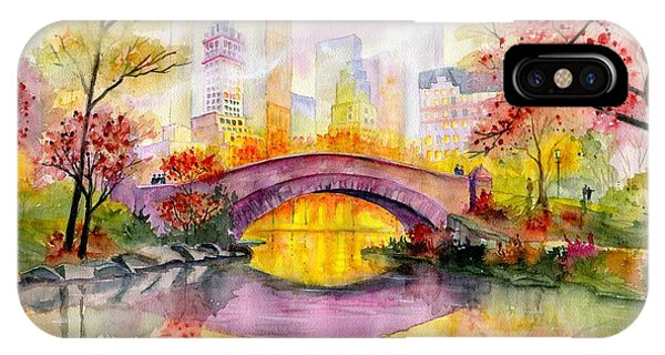 Road iPhone Case - Autumn At Gapstow Bridge Central Park by Melly Terpening