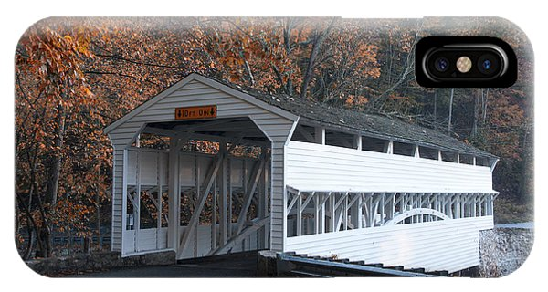 Covered Bridge iPhone Case - Autumn At Knox Covered Bridge In Valley Forge by Bill Cannon