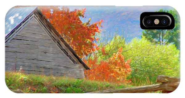 Autumn Barn Digital Watercolor IPhone Case