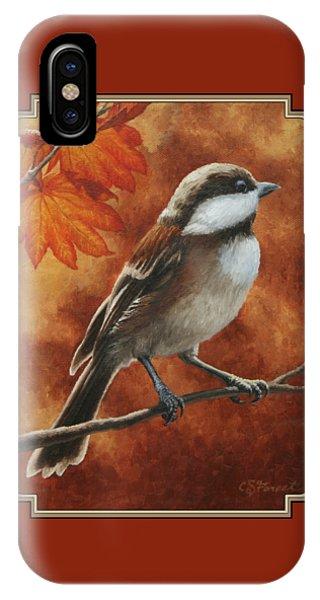 Chickadee iPhone Case - Autumn Chickadee by Crista Forest
