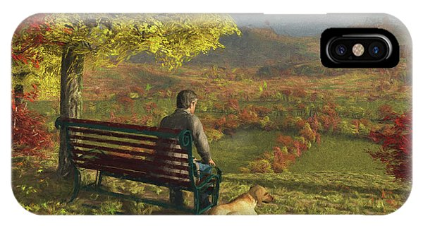 Park Bench iPhone Case - Autumn Companions by Jayne Wilson